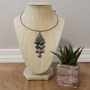 Vintage-Style Tarnished Silver Hoop Necklace